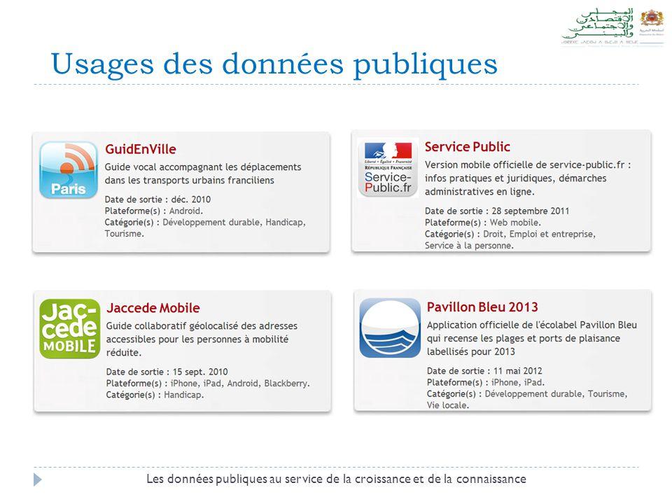 Usages des données publiques Les données publiques au service de la croissance et de la connaissance
