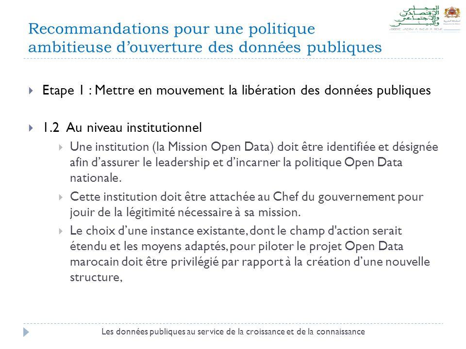 Recommandations pour une politique ambitieuse d'ouverture des données publiques  Etape 1 : Mettre en mouvement la libération des données publiques  1.2 Au niveau institutionnel  Une institution (la Mission Open Data) doit être identifiée et désignée afin d'assurer le leadership et d'incarner la politique Open Data nationale.