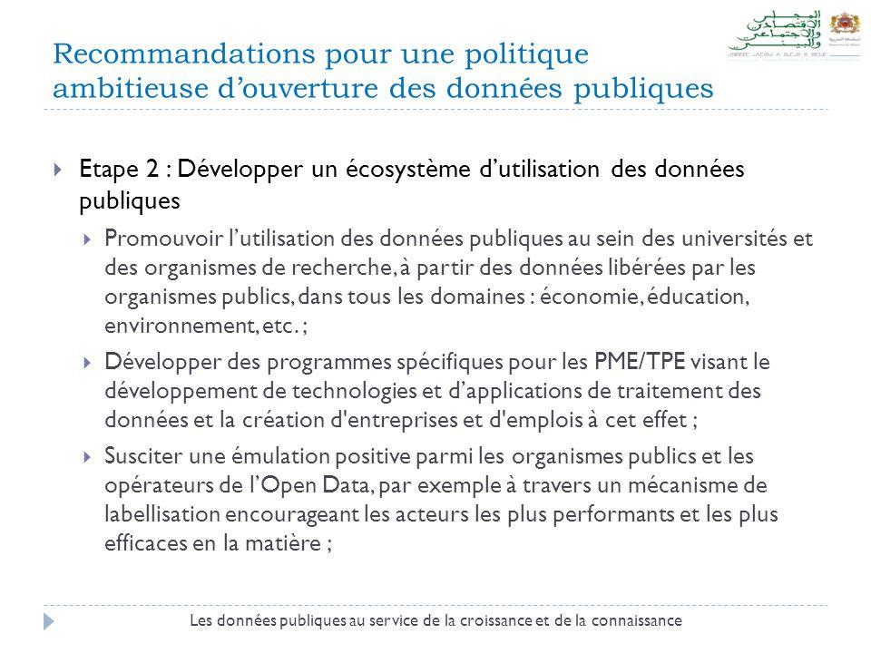 Recommandations pour une politique ambitieuse d'ouverture des données publiques  Etape 2 : Développer un écosystème d'utilisation des données publiques  Promouvoir l'utilisation des données publiques au sein des universités et des organismes de recherche, à partir des données libérées par les organismes publics, dans tous les domaines : économie, éducation, environnement, etc.