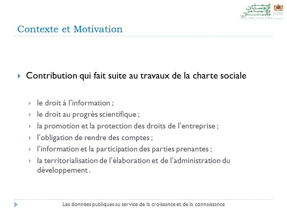 Contexte et Motivation Les données publiques au service de la croissance et de la connaissance  Contribution qui fait suite au travaux de la charte s