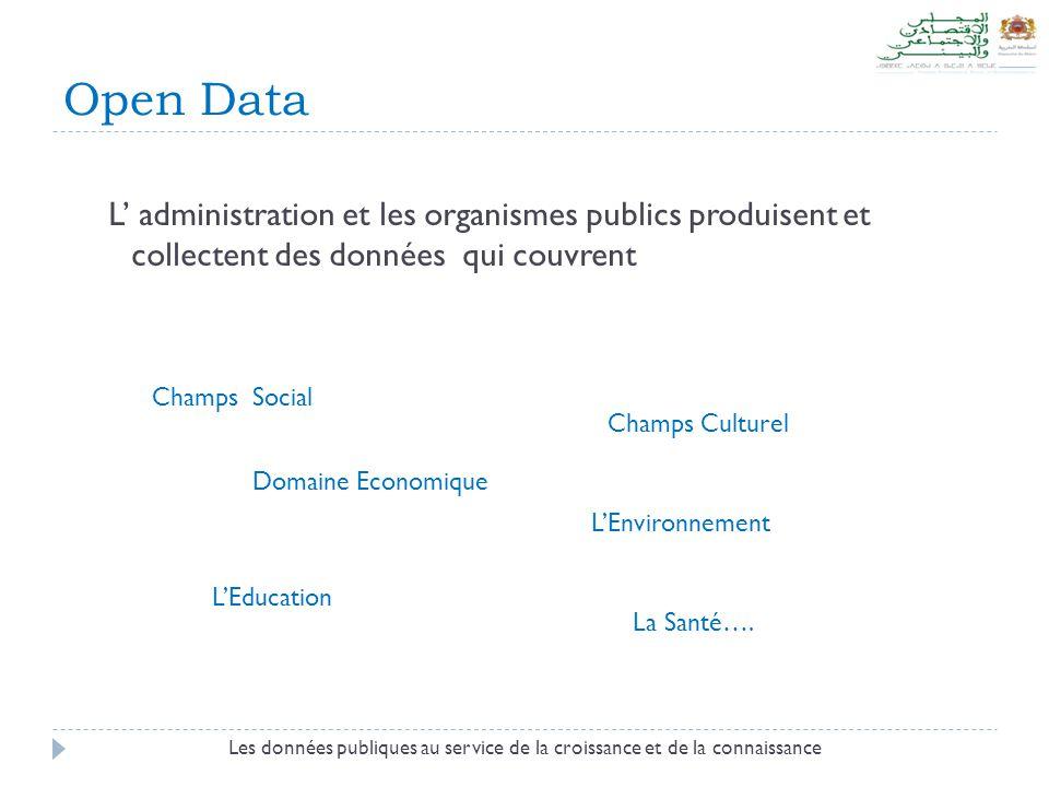 Open Data L' administration et les organismes publics produisent et collectent des données qui couvrent Les données publiques au service de la croissa
