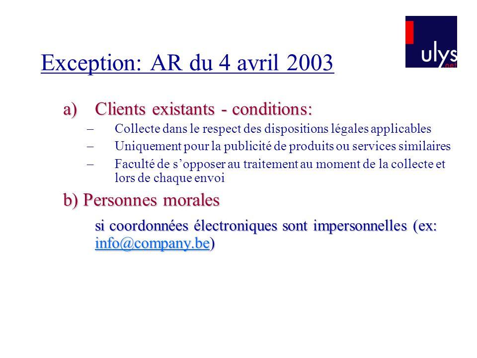 Exception: AR du 4 avril 2003 a)Clients existants - conditions: –Collecte dans le respect des dispositions légales applicables –Uniquement pour la pub