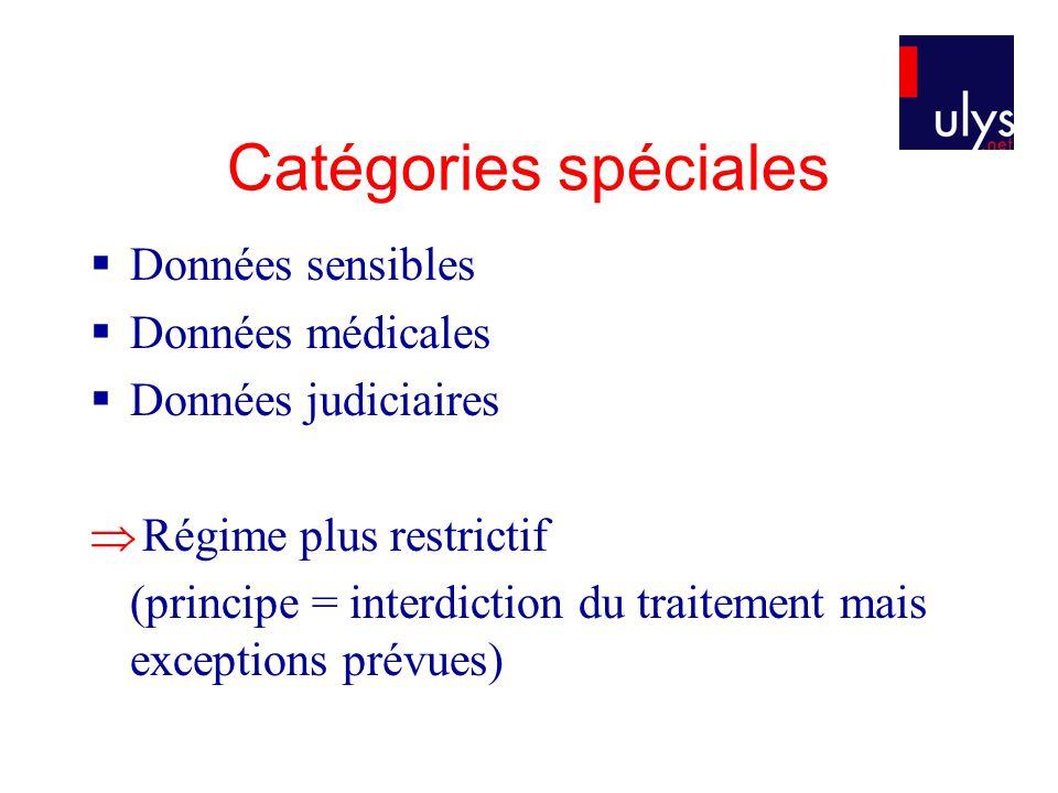 Catégories spéciales  Données sensibles  Données médicales  Données judiciaires  Régime plus restrictif (principe = interdiction du traitement mais exceptions prévues)