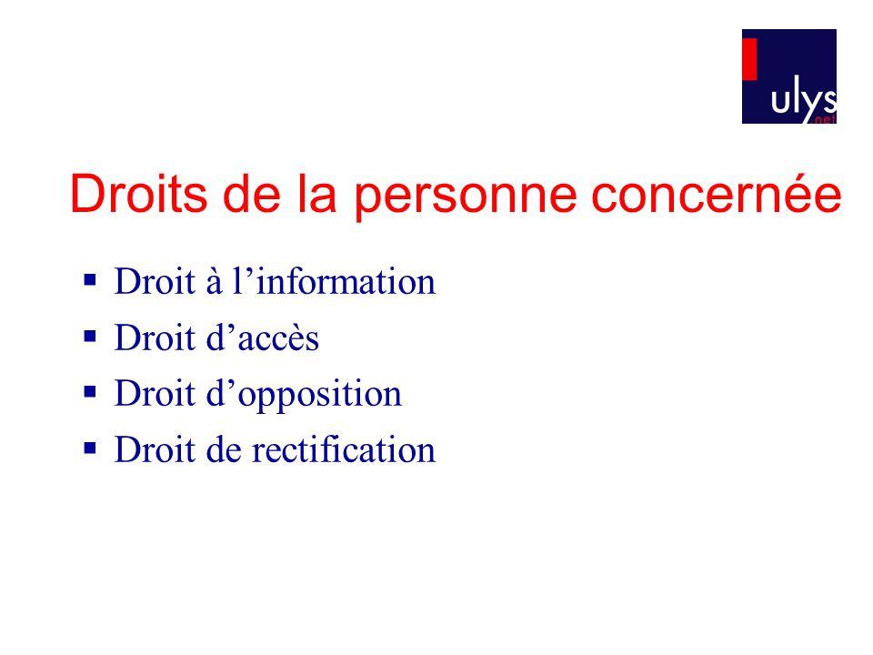 Droits de la personne concernée  Droit à l'information  Droit d'accès  Droit d'opposition  Droit de rectification