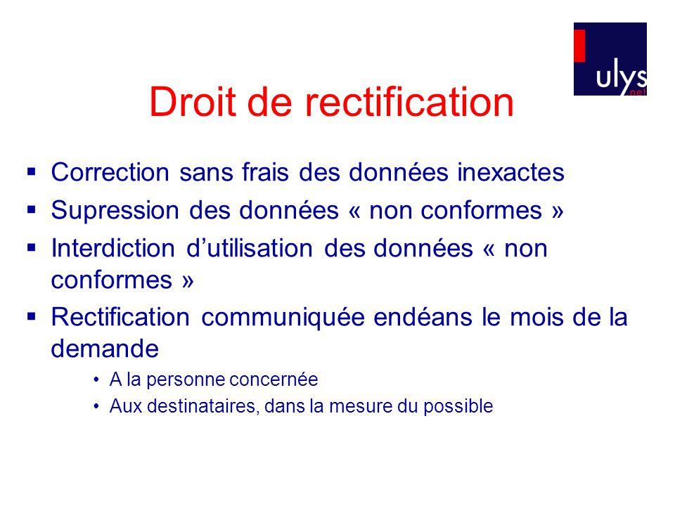Droit de rectification  Correction sans frais des données inexactes  Supression des données « non conformes »  Interdiction d'utilisation des donné