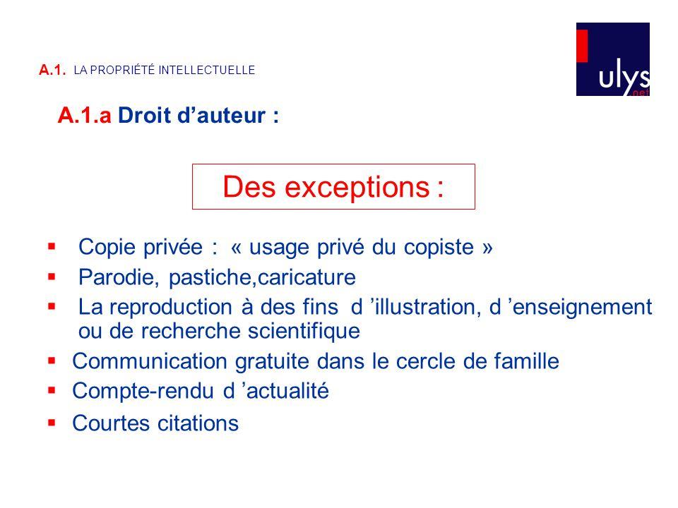 Des exceptions :  Copie privée : « usage privé du copiste »  Parodie, pastiche,caricature  La reproduction à des fins d 'illustration, d 'enseignem