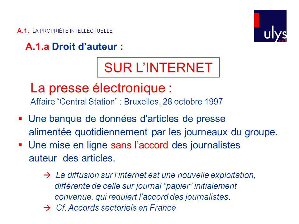 SUR L'INTERNET La presse électronique : Affaire Central Station : Bruxelles, 28 octobre 1997  Une banque de données d'articles de presse alimentée quotidiennement par les journeaux du groupe.