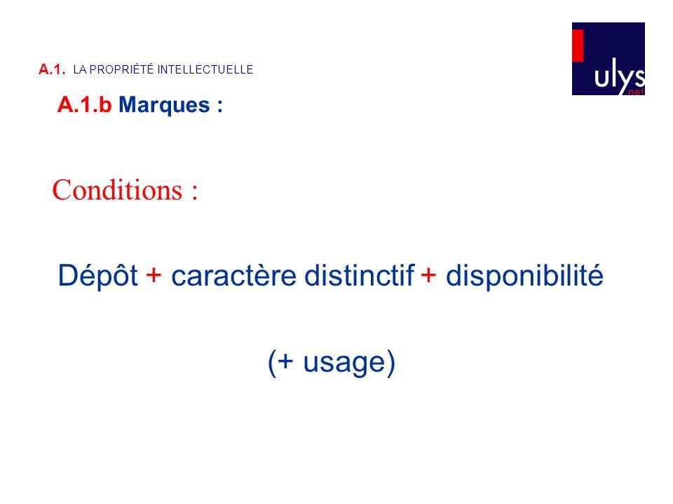 Conditions : Dépôt + caractère distinctif + disponibilité (+ usage) A.1. LA PROPRIÉTÉ INTELLECTUELLE A.1.b Marques :