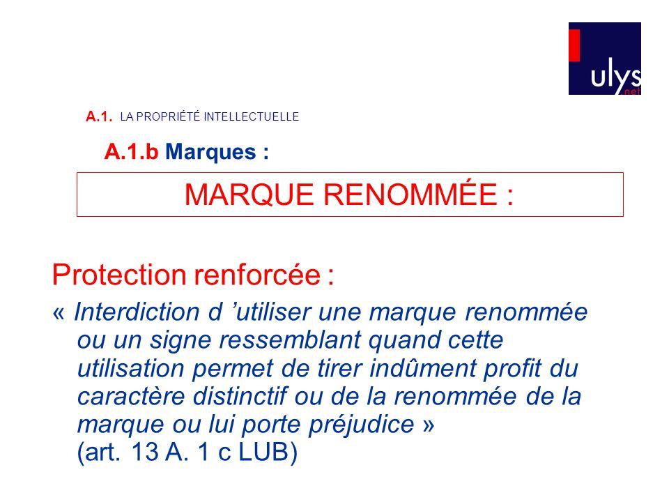 MARQUE RENOMMÉE : Protection renforcée : « Interdiction d 'utiliser une marque renommée ou un signe ressemblant quand cette utilisation permet de tire