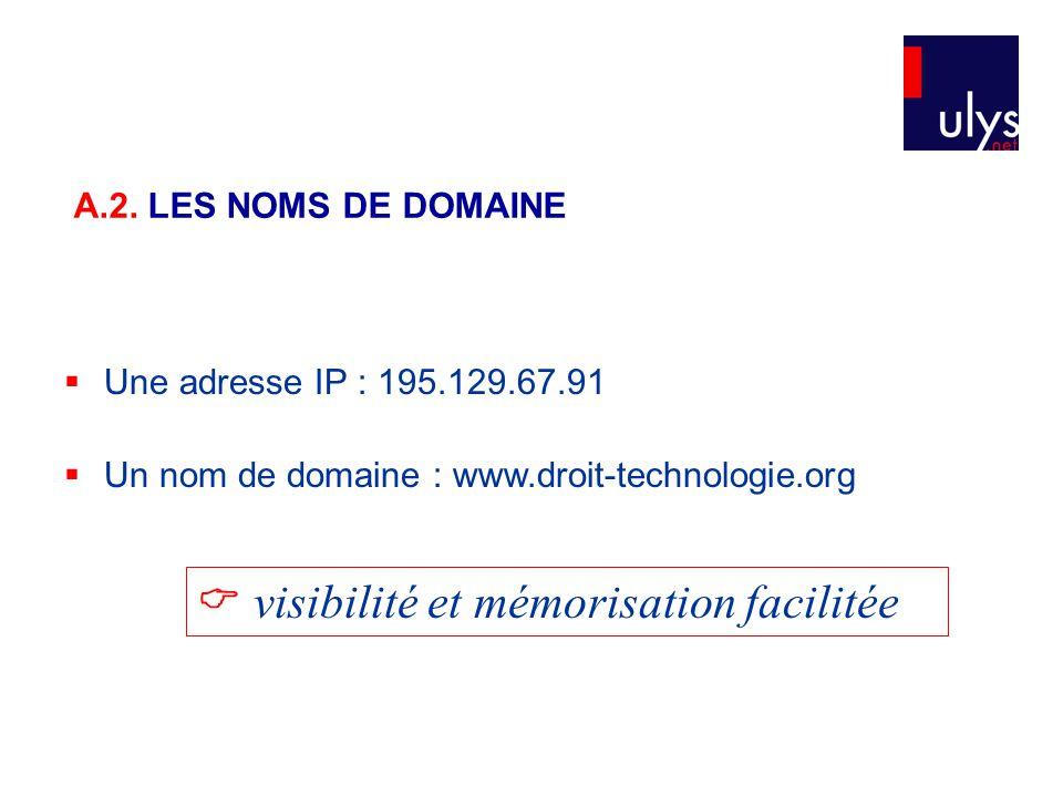  Une adresse IP : 195.129.67.91  Un nom de domaine : www.droit-technologie.org  visibilité et mémorisation facilitée A.2. LES NOMS DE DOMAINE