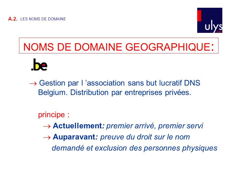  Gestion par l 'association sans but lucratif DNS Belgium. Distribution par entreprises privées. principe :  Actuellement: premier arrivé, premier s