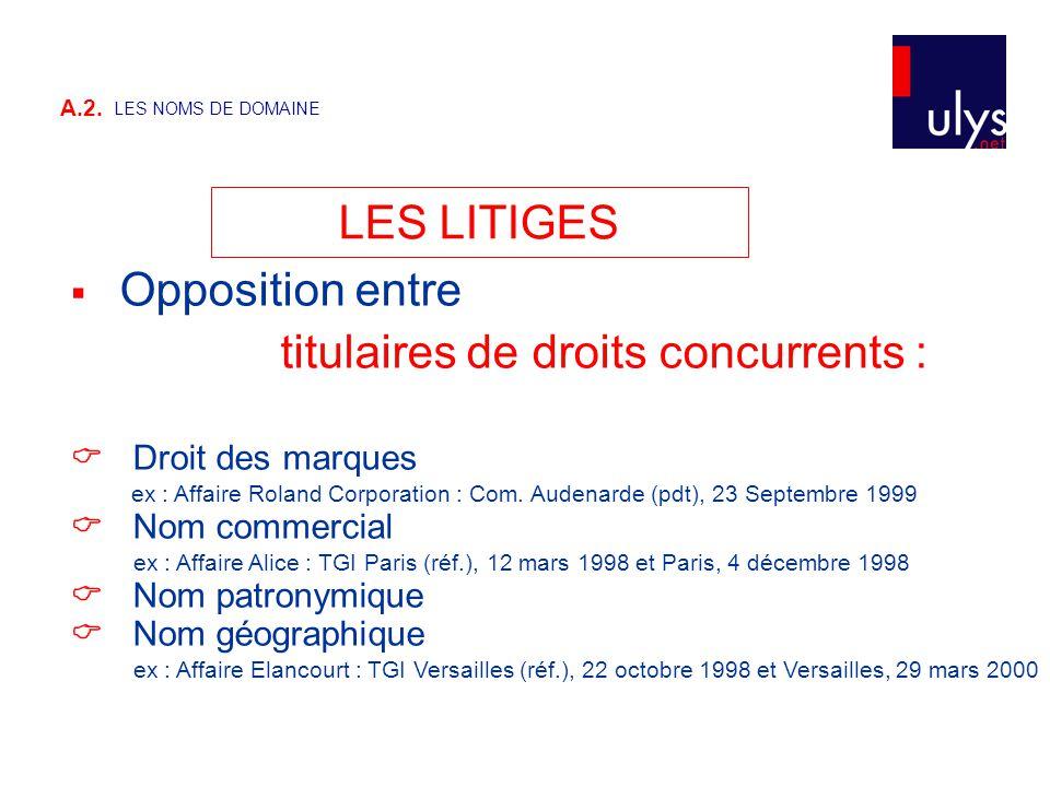 A.2. LES NOMS DE DOMAINE LES LITIGES  Opposition entre titulaires de droits concurrents :  Droit des marques ex : Affaire Roland Corporation : Com.