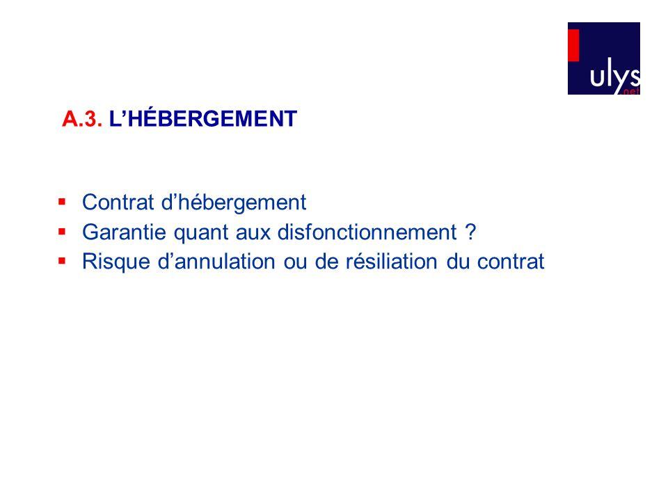  Contrat d'hébergement  Garantie quant aux disfonctionnement ?  Risque d'annulation ou de résiliation du contrat A.3. L'HÉBERGEMENT