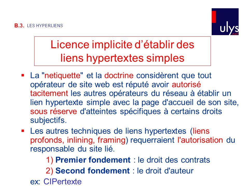 B.3. LES HYPERLIENS Licence implicite d'établir des liens hypertextes simples  La