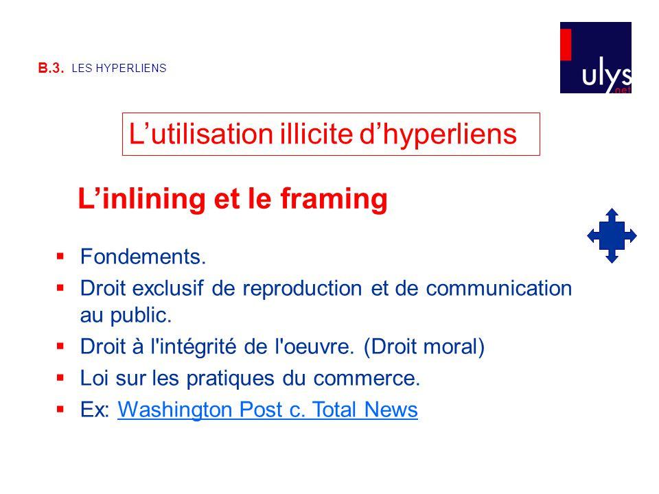 B.3. LES HYPERLIENS L'utilisation illicite d'hyperliens  Fondements.  Droit exclusif de reproduction et de communication au public.  Droit à l'inté