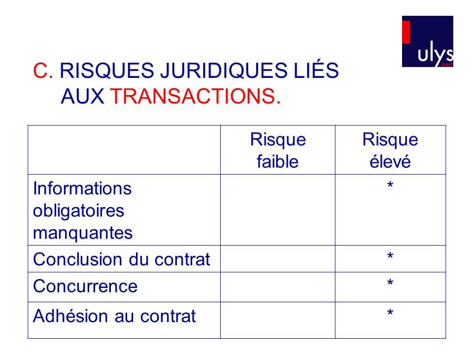 C. RISQUES JURIDIQUES LIÉS AUX TRANSACTIONS.