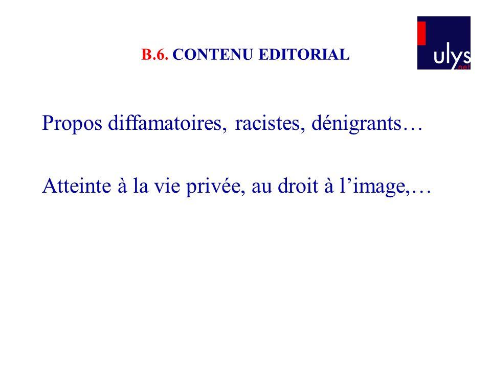 B.6. CONTENU EDITORIAL Propos diffamatoires, racistes, dénigrants… Atteinte à la vie privée, au droit à l'image,…