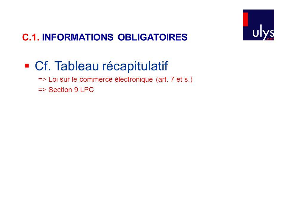  Cf. Tableau récapitulatif => Loi sur le commerce électronique (art. 7 et s.) => Section 9 LPC C.1. INFORMATIONS OBLIGATOIRES