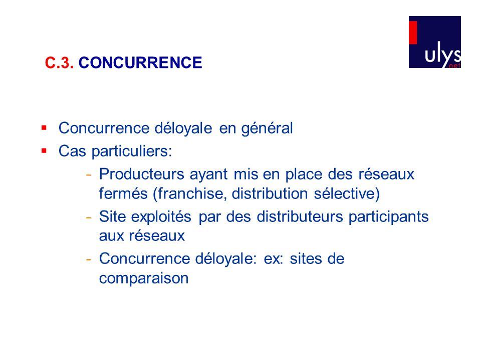  Concurrence déloyale en général  Cas particuliers: - Producteurs ayant mis en place des réseaux fermés (franchise, distribution sélective) - Site e