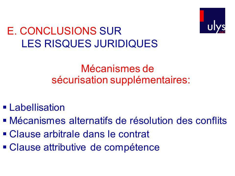 E. CONCLUSIONS SUR LES RISQUES JURIDIQUES Mécanismes de sécurisation supplémentaires:  Labellisation  Mécanismes alternatifs de résolution des confl
