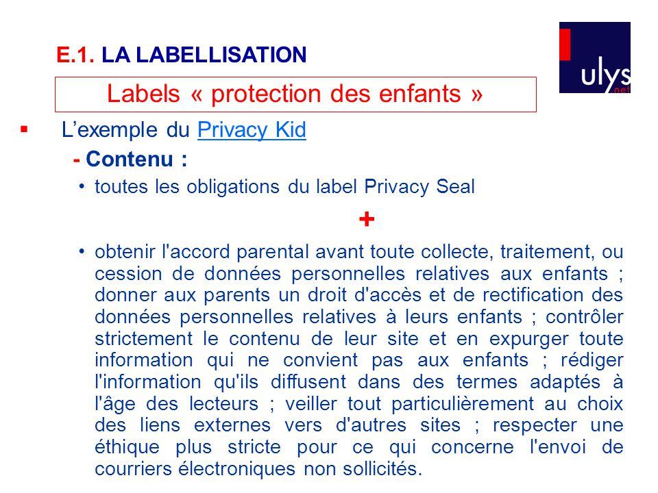 Labels « protection des enfants »  L'exemple du Privacy KidPrivacy Kid - Contenu : toutes les obligations du label Privacy Seal + obtenir l'accord pa