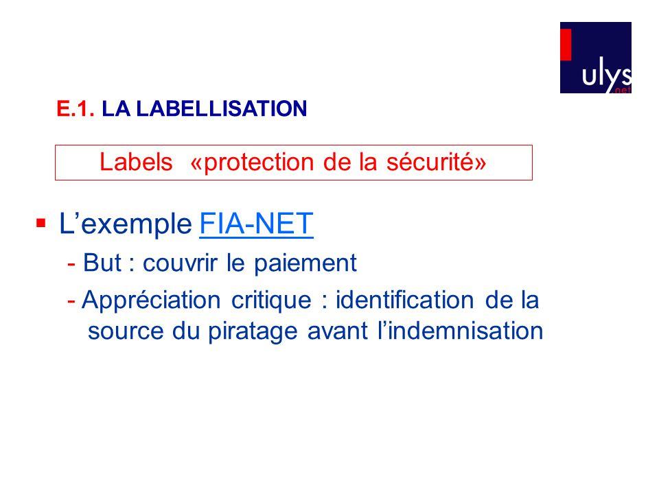 Labels «protection de la sécurité»  L'exemple FIA-NETFIA-NET - But : couvrir le paiement - Appréciation critique : identification de la source du piratage avant l'indemnisation E.1.