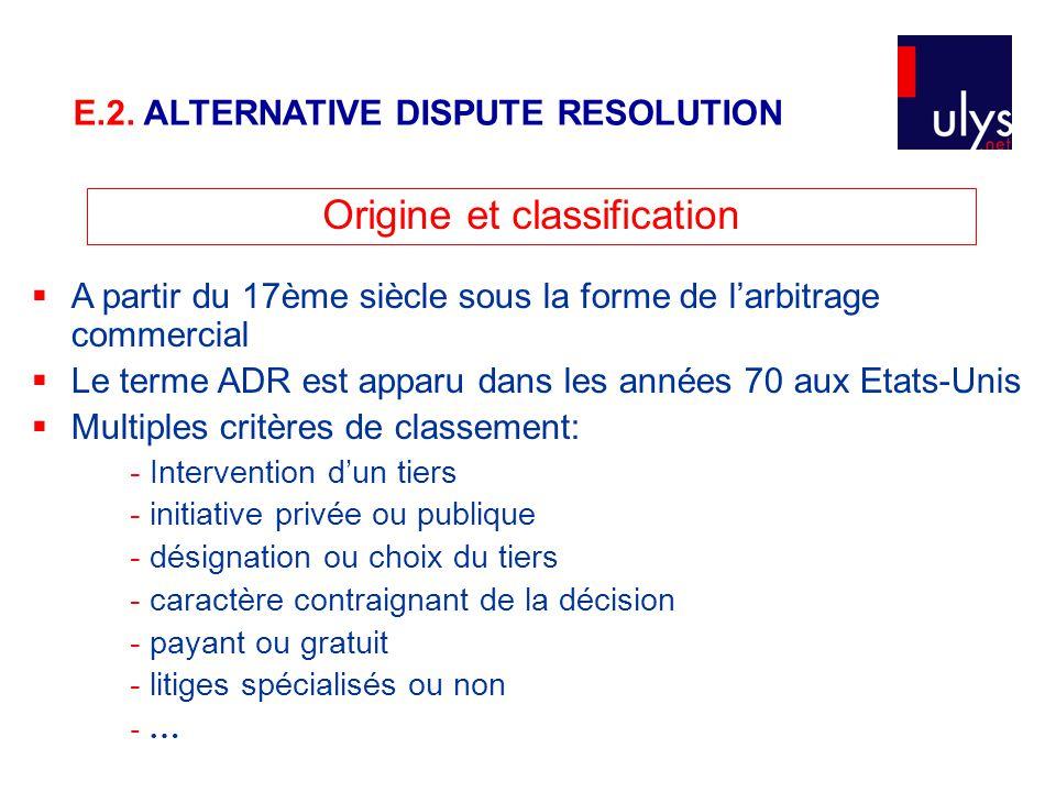 Origine et classification  A partir du 17ème siècle sous la forme de l'arbitrage commercial  Le terme ADR est apparu dans les années 70 aux Etats-Un