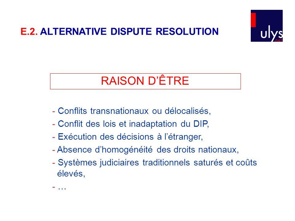 RAISON D'ÊTRE - Conflits transnationaux ou délocalisés, - Conflit des lois et inadaptation du DIP, - Exécution des décisions à l'étranger, - Absence d'homogénéité des droits nationaux, - Systèmes judiciaires traditionnels saturés et coûts élevés, - … E.2.