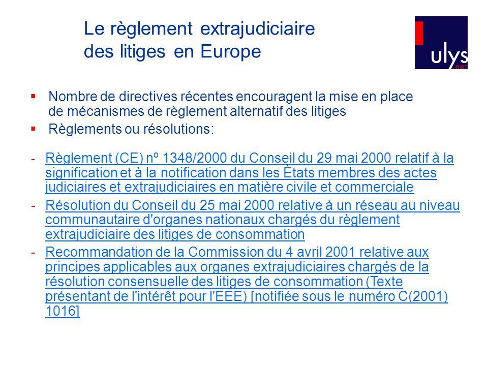 Le règlement extrajudiciaire des litiges en Europe  Nombre de directives récentes encouragent la mise en place de mécanismes de règlement alternatif