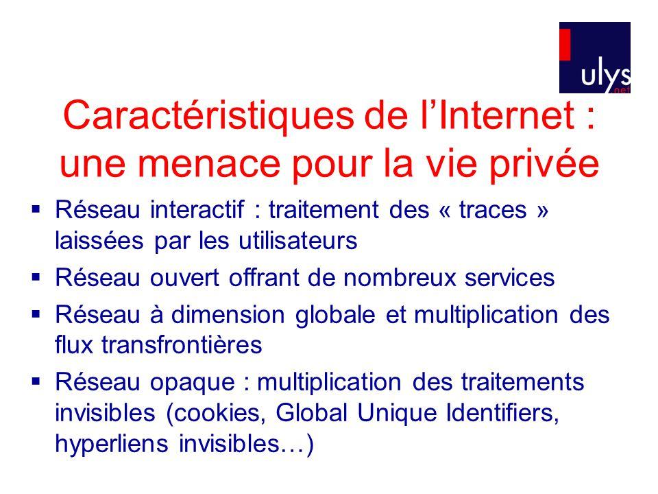 Caractéristiques de l'Internet : une menace pour la vie privée  Réseau interactif : traitement des « traces » laissées par les utilisateurs  Réseau