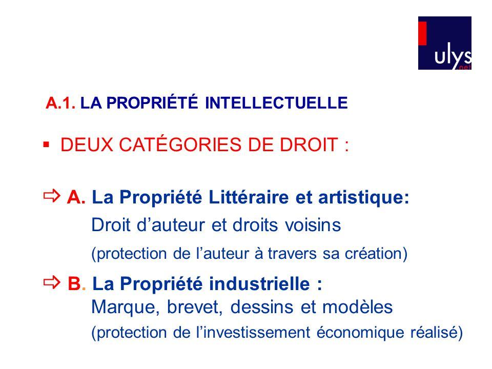 A.1. LA PROPRIÉTÉ INTELLECTUELLE  DEUX CATÉGORIES DE DROIT :  A. La Propriété Littéraire et artistique: Droit d'auteur et droits voisins (protection