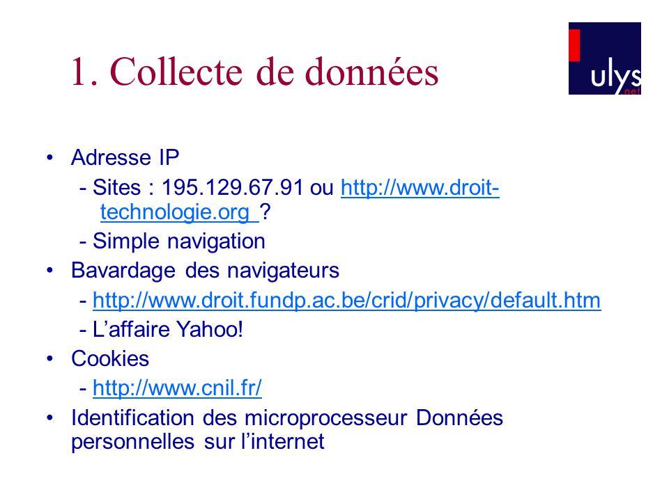 3 TITRE 1. Collecte de données Adresse IP - Sites : 195.129.67.91 ou http://www.droit- technologie.org ?http://www.droit- technologie.org - Simple nav