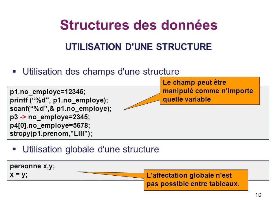 10 Structures des données UTILISATION D'UNE STRUCTURE  Utilisation des champs d'une structure  Utilisation globale d'une structure p1.no_employe=123