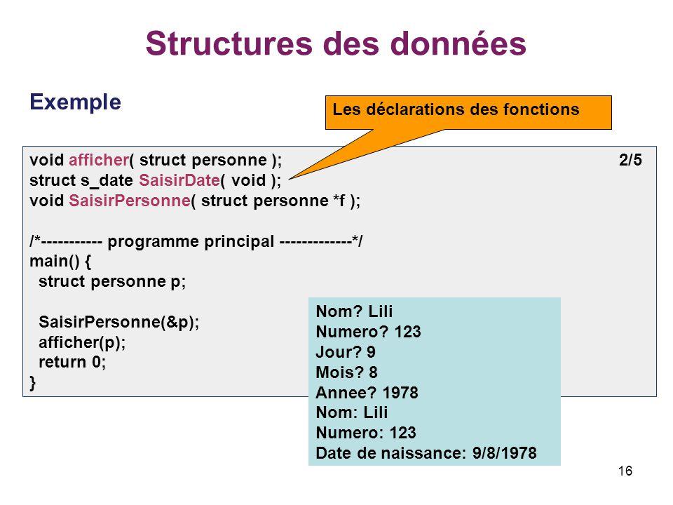16 Structures des données Exemple void afficher( struct personne ); 2/5 struct s_date SaisirDate( void ); void SaisirPersonne( struct personne *f ); /