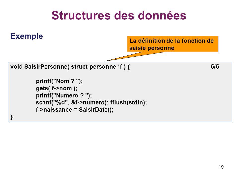 19 Structures des données Exemple void SaisirPersonne( struct personne *f ) { 5/5 printf(