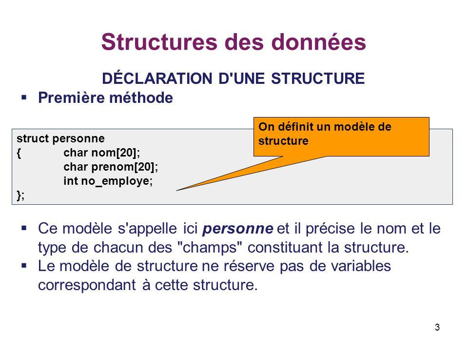 3 Structures des données DÉCLARATION D'UNE STRUCTURE  Première méthode  Ce modèle s'appelle ici personne et il précise le nom et le type de chacun d