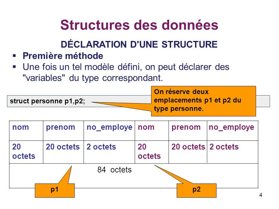 4 Structures des données DÉCLARATION D'UNE STRUCTURE  Première méthode  Une fois un tel modèle défini, on peut déclarer des