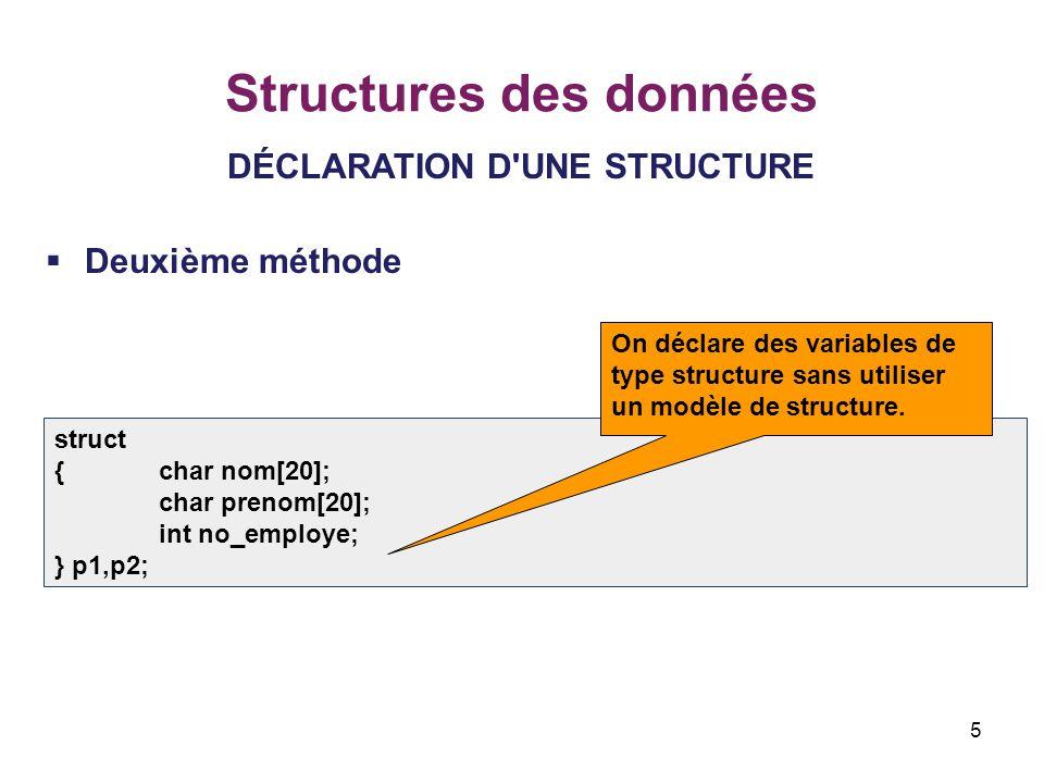 5 Structures des données DÉCLARATION D'UNE STRUCTURE  Deuxième méthode struct {char nom[20]; char prenom[20]; int no_employe; } p1,p2; On déclare des