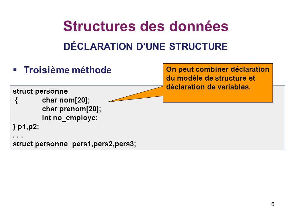 6 Structures des données DÉCLARATION D'UNE STRUCTURE  Troisième méthode struct personne {char nom[20]; char prenom[20]; int no_employe; } p1,p2;... s