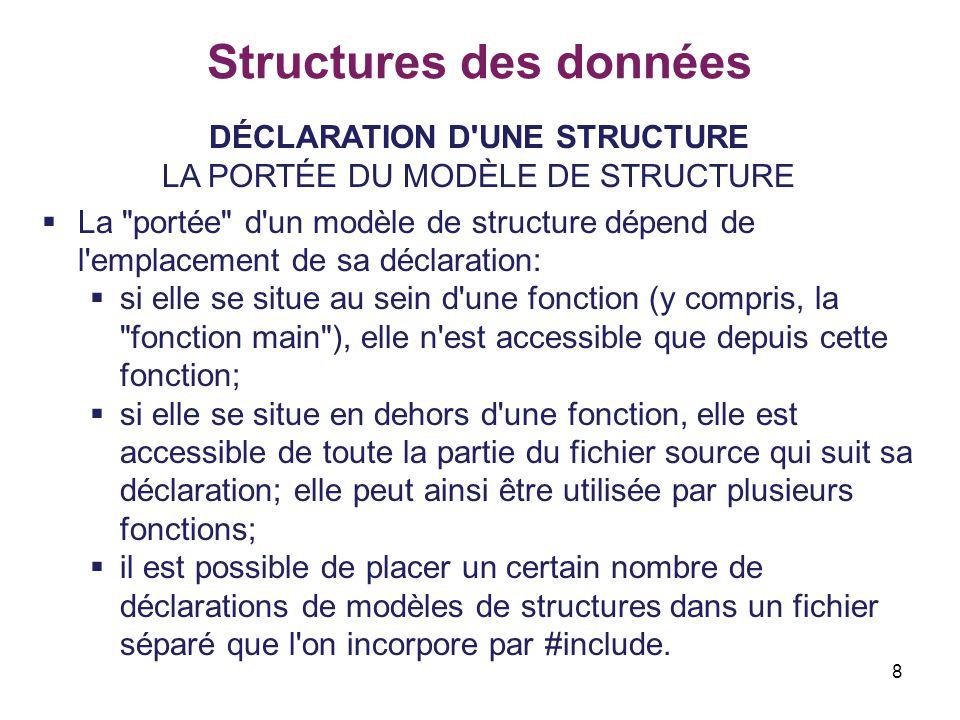 8 Structures des données DÉCLARATION D'UNE STRUCTURE LA PORTÉE DU MODÈLE DE STRUCTURE  La