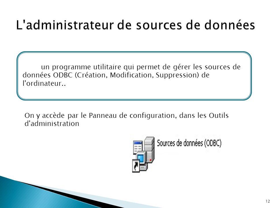 12 C'est un programme utilitaire qui permet de gérer les sources de données ODBC (Création, Modification, Suppression) de l'ordinateur.. On y accède p