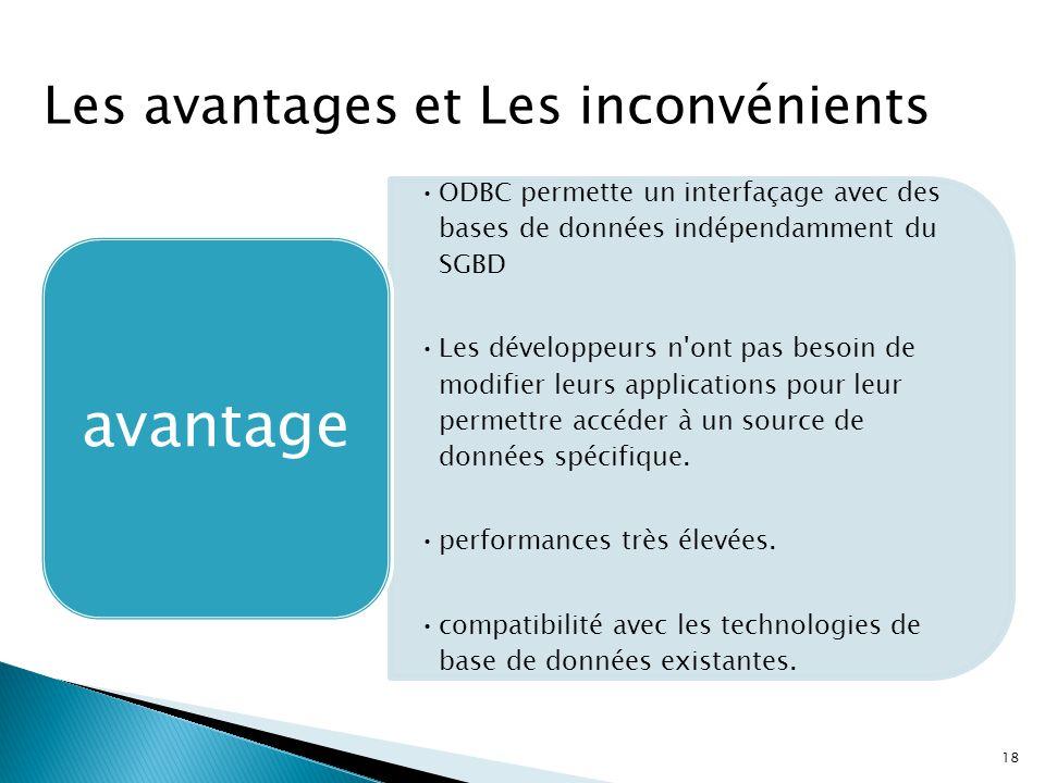 18 ODBC permette un interfaçage avec des bases de données indépendamment du SGBD Les développeurs n'ont pas besoin de modifier leurs applications pour