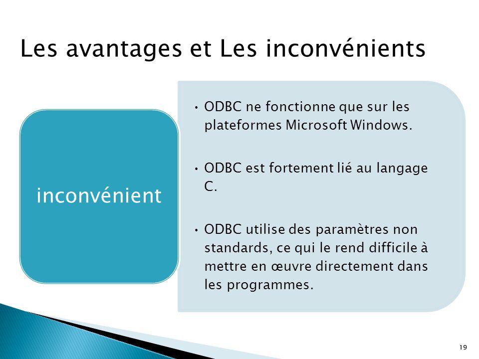 19 ODBC ne fonctionne que sur les plateformes Microsoft Windows. ODBC est fortement lié au langage C. ODBC utilise des paramètres non standards, ce qu