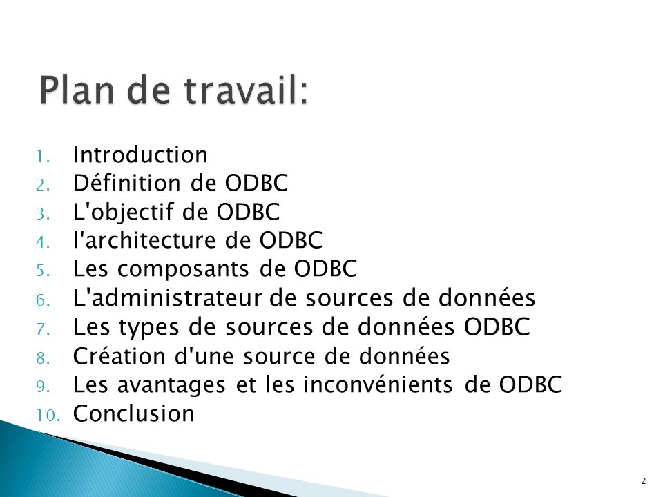 1. Introduction 2. Définition de ODBC 3. L'objectif de ODBC 4. l'architecture de ODBC 5. Les composants de ODBC 6. L'administrateur de sources de donn