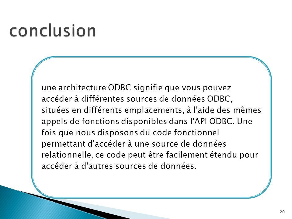 une architecture ODBC signifie que vous pouvez accéder à différentes sources de données ODBC, situées en différents emplacements, à l'aide des mêmes a