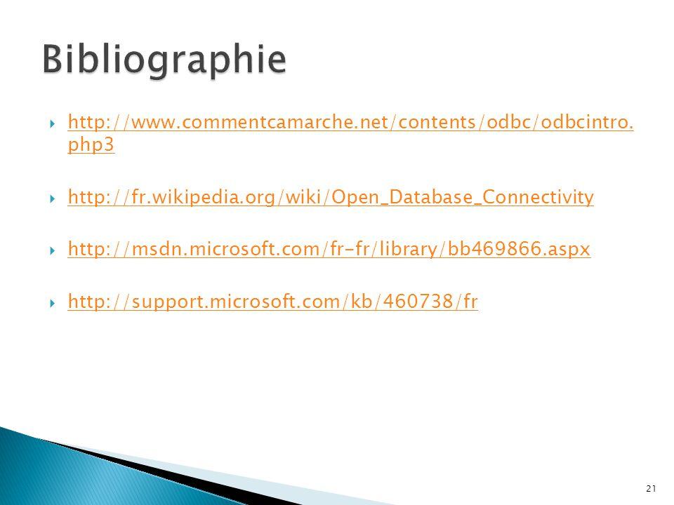  http://www.commentcamarche.net/contents/odbc/odbcintro. php3 http://www.commentcamarche.net/contents/odbc/odbcintro. php3  http://fr.wikipedia.org/