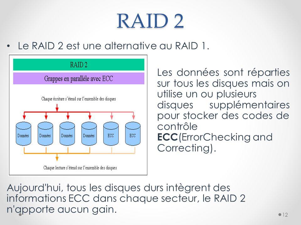 RAID 2 Le RAID 2 est une alternative au RAID 1. Les données sont réparties sur tous les disques mais on utilise un ou plusieurs disques supplémentaire