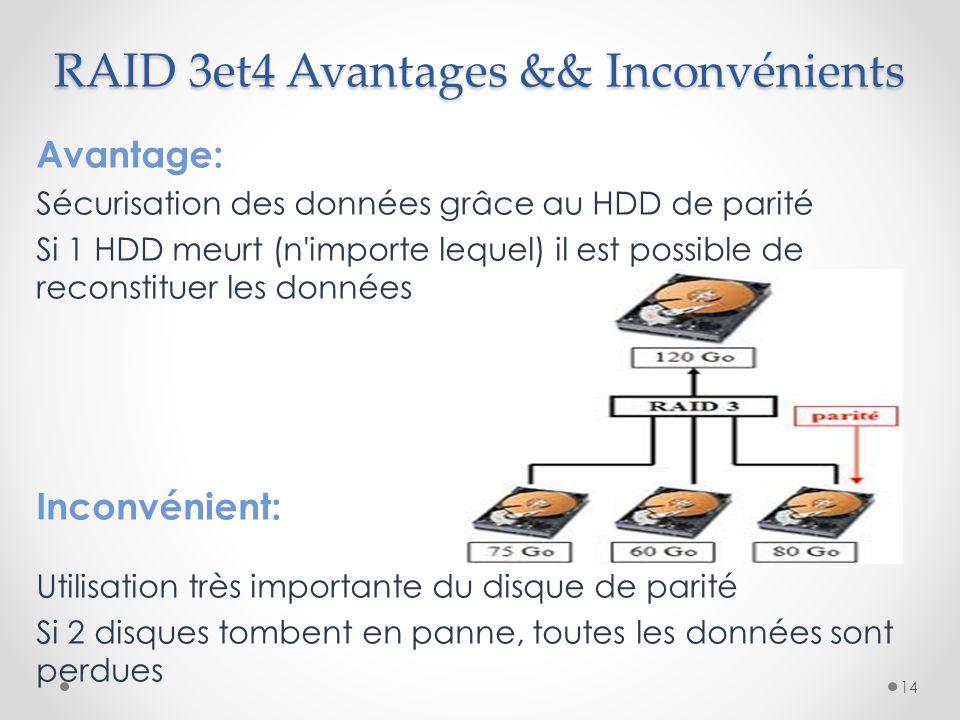 RAID 3et4 Avantages && Inconvénients Avantage: Sécurisation des données grâce au HDD de parité Si 1 HDD meurt (n'importe lequel) il est possible de re