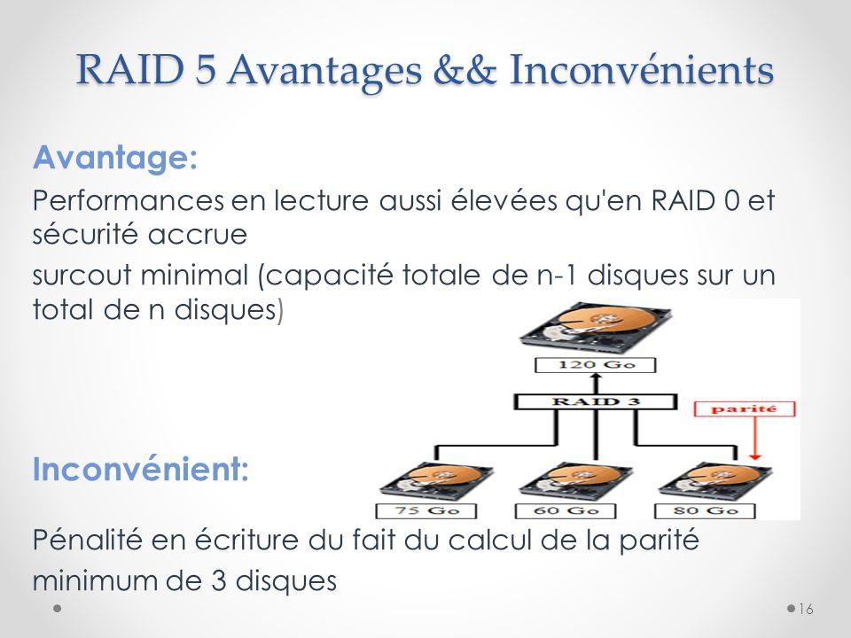 RAID 5 Avantages && Inconvénients Avantage: Performances en lecture aussi élevées qu'en RAID 0 et sécurité accrue surcout minimal (capacité totale de