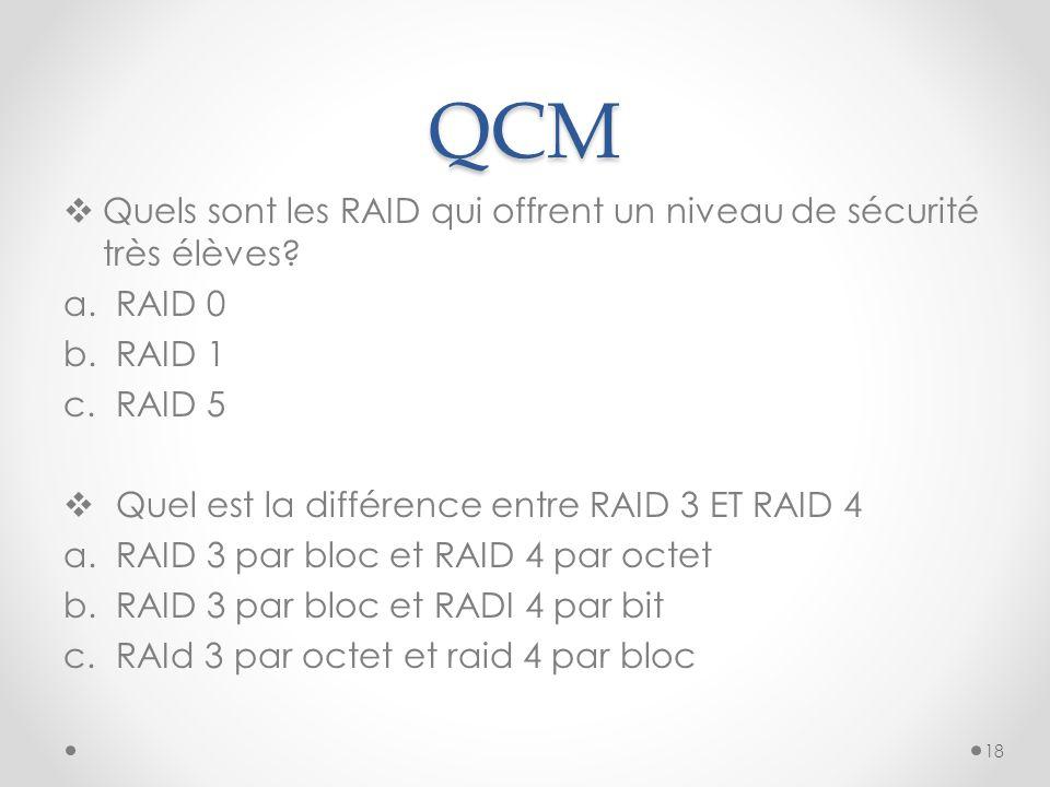 QCM  Quels sont les RAID qui offrent un niveau de sécurité très élèves? a.RAID 0 b.RAID 1 c.RAID 5  Quel est la différence entre RAID 3 ET RAID 4 a.